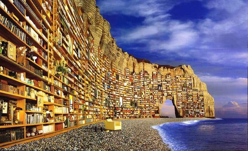 Barriera di Libri in Spiaggia